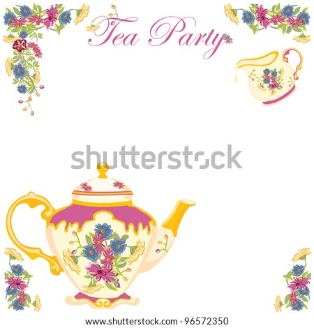 Victorian Tea Pot Tea Party Invitation. Pretty victorian style tea pot and creamer with flower detail - stock vector