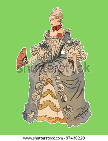 Victorian woman - stock vector