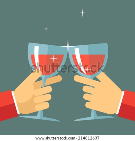 Victory Celebration Success and Prosperity Symbol Hands Holds a Glasses with Drink Icon on Stylish Background Modern Flat Design Vector Illustration - stock vector