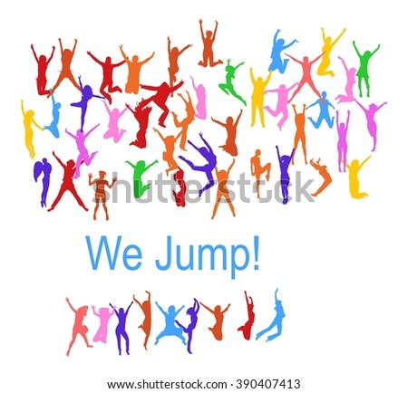 Victory is Ours People Jumping  - stock vector