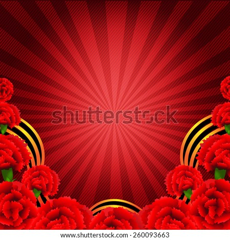 Victory Red Poster With Red Carnations Border With Gradient Mesh, Vector Illustration - stock vector