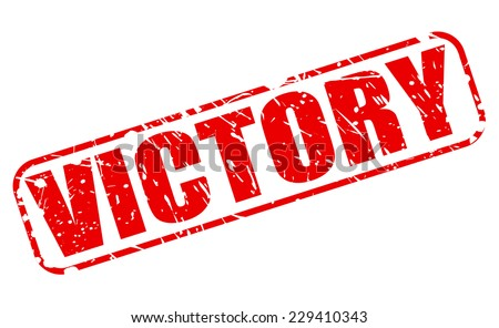 Victory red stamp text on white - stock vector