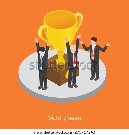 Victory team concept design 3d isometric vector illustration Note to editor: - stock vector