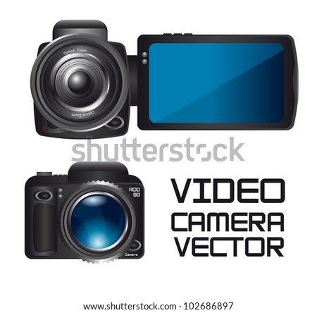 video and camera isolated over white background. vector - stock vector