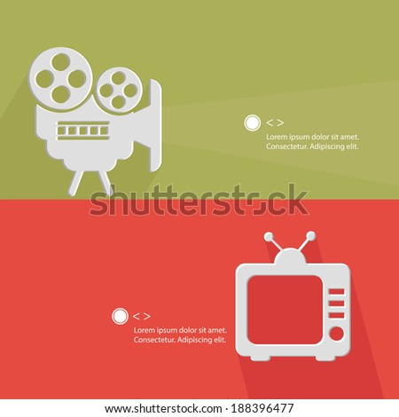 Video and television concept for text,green & pink version,vector - stock vector