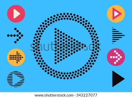 video audio web arrows set - stock vector