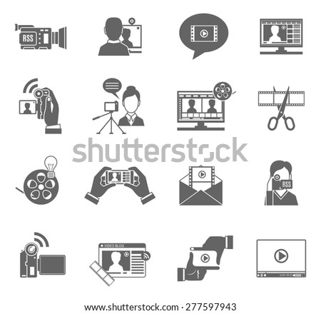 Video blog social media communication black icons set isolated vector illustration - stock vector