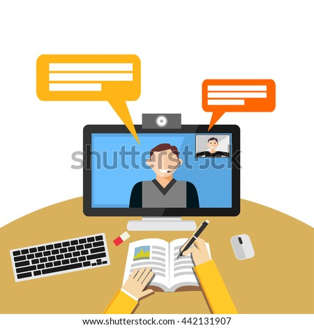 Video call or conference on computer. Web binar or web tutorial concept.  - stock vector