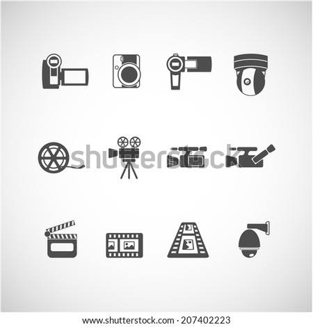 video camera and cctv icon set, each icon is a single object (compound path), vector eps10 - stock vector