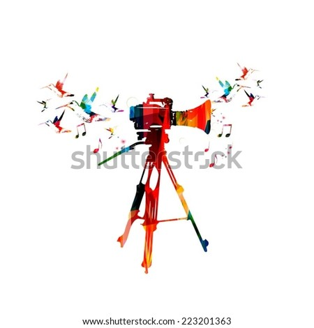 Video camera colorful design - stock vector