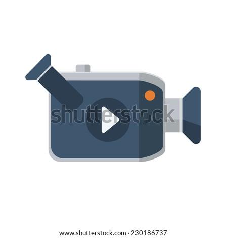 Video camera flat icon, vector logo ilustration - stock vector