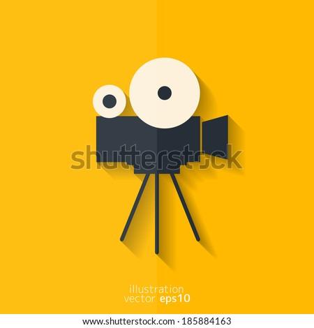 Video camera icon. Media symbol. Flat design. - stock vector