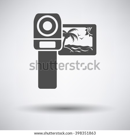 Video camera icon on gray background with round shadow. Vector illustration. - stock vector