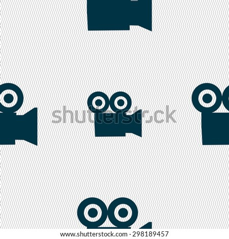 video camera icon sign. Seamless pattern with geometric texture. Vector illustration - stock vector