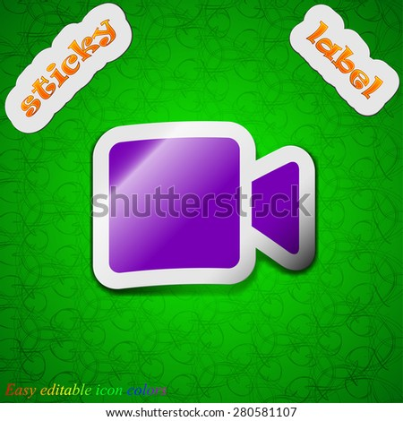 Video camera  icon sign. Symbol chic colored sticky label on green background. Vector illustration - stock vector