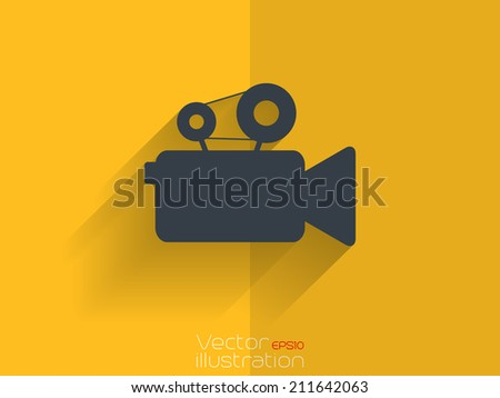 Video camera icon with long shadow on yellow background - stock vector