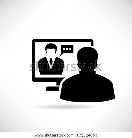 video conference, online meeting - stock vector