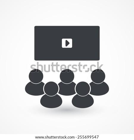 Video conference, online meeting. Vector illustration flat design  - stock vector