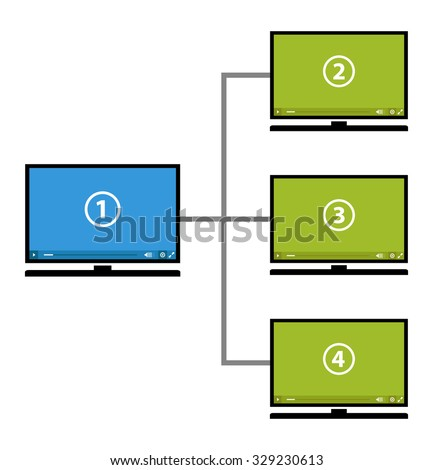 video diagram, steps to see media - stock vector