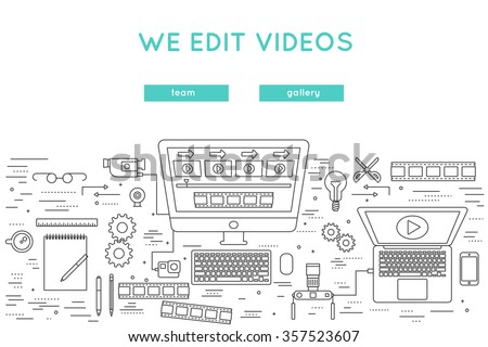 video edit and post production thin line vector banner. website design for professional movie production, film shooting, broadcast, internet posting - stock vector