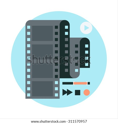 Video editting flat style, colorful, vector icon for info graphics, websites, mobile and print media. - stock vector