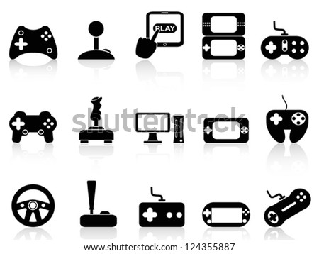 video game and joystick icons set - stock vector