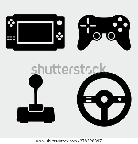 Video Game Icon Set - stock vector