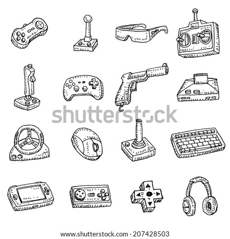 Video game icons set, doodle illustration. - stock vector