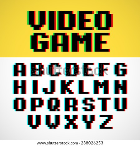 Video game pixel font with distortion. Vector. - stock vector