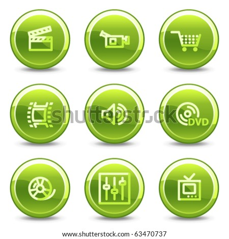 Video icons, green circle glossy buttons - stock vector