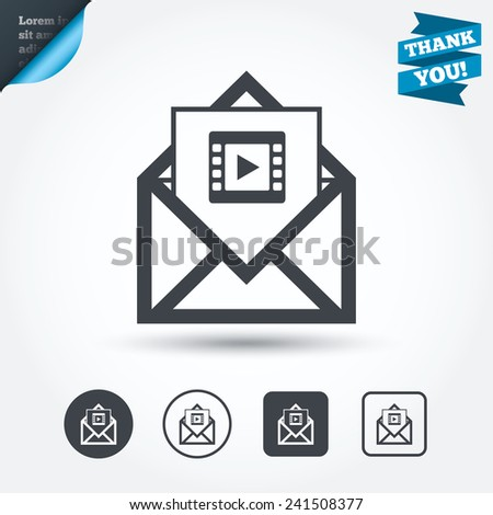 Video mail icon. Video frame symbol. Message sign. Circle and square buttons. Flat design set. Thank you ribbon. Vector - stock vector