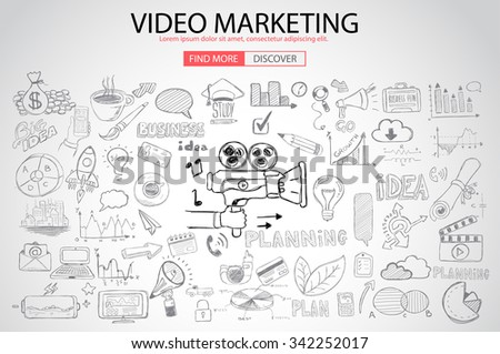 Video Marketing concept with Doodle design style :internet connections, web analysis, www statistics .Modern style illustration for web banners, brochure and flyers. - stock vector