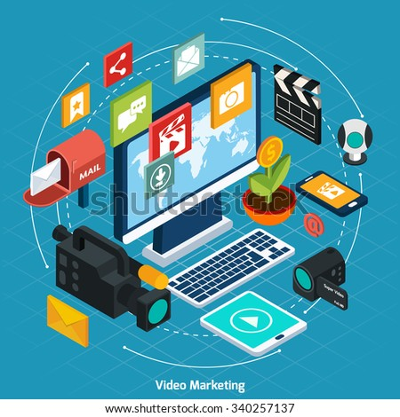 Video marketing isometric concept with 3d computer and digital icons set vector illustration - stock vector
