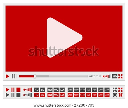 Video multimedia player flat design for web browser, vector red template - stock vector