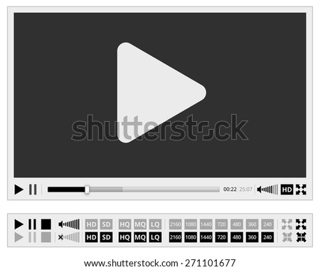 Video multimedia player flat design for web browser, vector template - stock vector