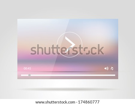 Video player design for web - stock vector