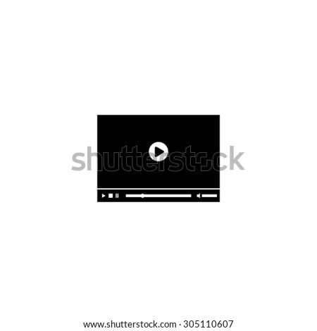 Video player for web. Black simple vector icon - stock vector