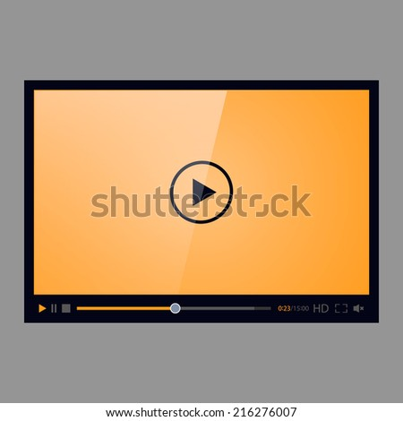 Video player for web, isolated on gray background. Orange screen. Vector illustration, eps 8. - stock vector