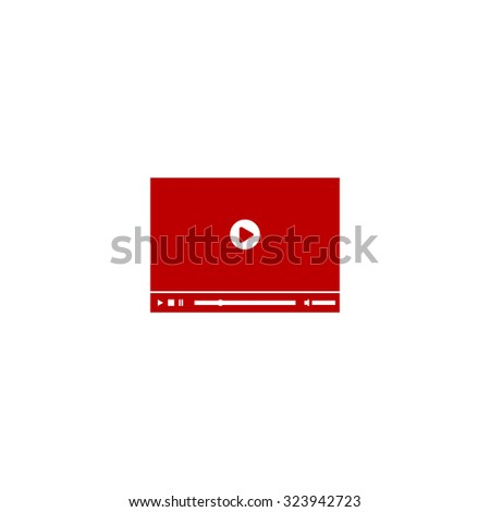 Video player for web. Red flat icon. Vector illustration symbol - stock vector