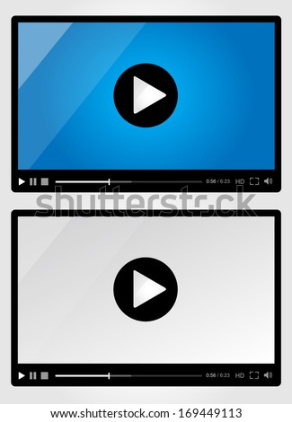 Video player for web - Set - stock vector