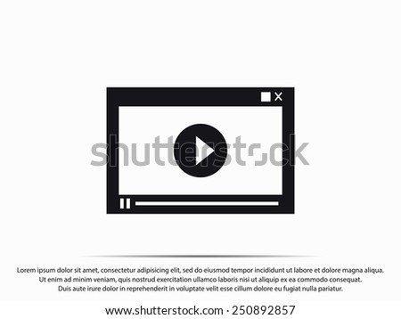 Video player for web, vector illustration - stock vector