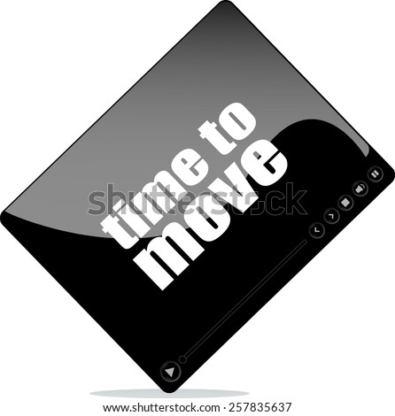 Video player for web with time to move word - stock vector
