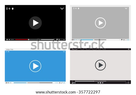 Video player interface - stock vector