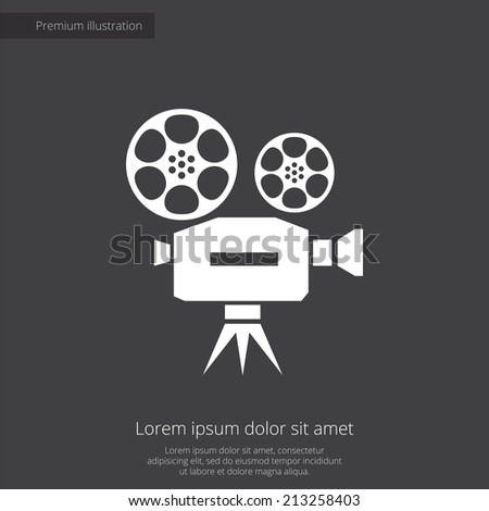 video premium illustration icon, isolated, white on dark background, with text elements - stock vector