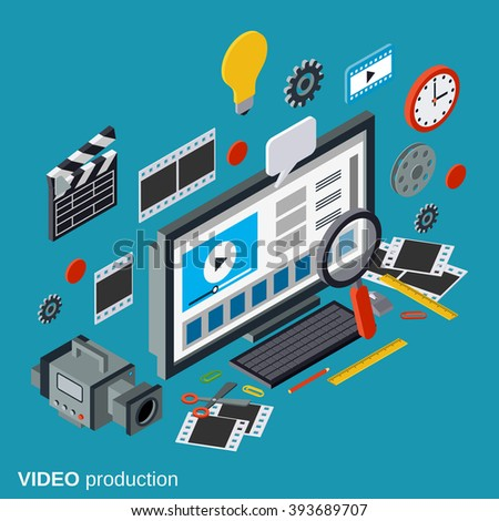 Video production flat 3d isometric vector concept illustration - stock vector