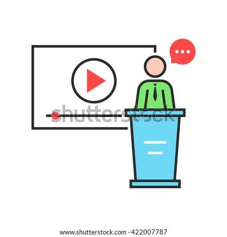 video seminar with spokesman. concept of class, tablet, leader, personal tutor, teamwork, university, presentation, orator. flat style trend modern logo design vector illustration on white background - stock vector