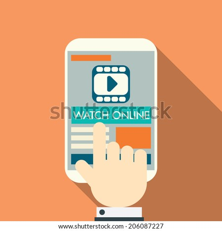 Video stream concept on modern technology devices with responsive flat web design. Eps10 vector illustration. - stock vector