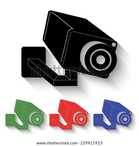 video surveillance camera icon - black and colored (green, red, blue) illustration with shadow - stock vector