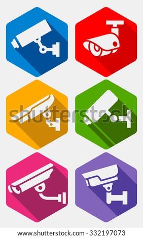 Video surveillance, camera set, vector illustration - stock vector