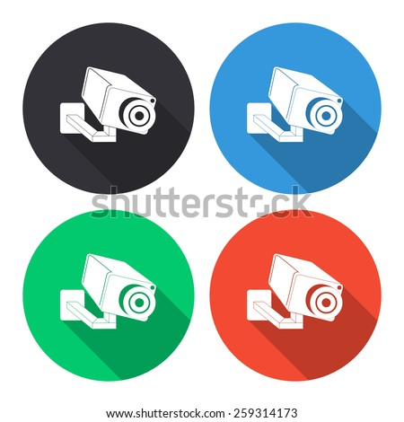 Video surveillance camera vector icon - colored(gray, blue, green, red) round buttons with long shadow - stock vector